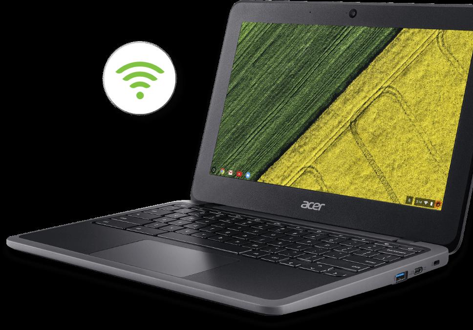 Acer Chromebook C733-C607 com ícone de Wi-Fi