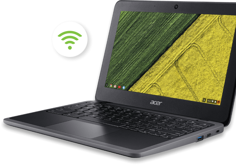 Acer Chromebook C733T-C2HY com ícone de Wi-Fi